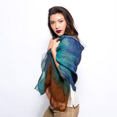 Patchwork Silk and wool scarf Hand dyed One of a kind wrap