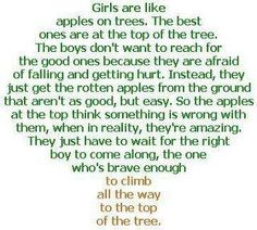 Girls, Be patient and stay at the top of the tree! You are worth the climb. :)