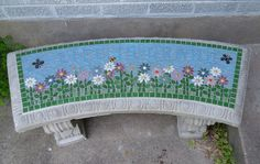 Life Is Grand Front Door Bench by Elsieland Mosaics Mosaic Tile Designs, Mosaic Diy, Mosaic Garden, Mosaic Crafts, Mosaic Projects, Mosaic Glass, Cement Crafts, Mosaic Patterns, Stained Glass