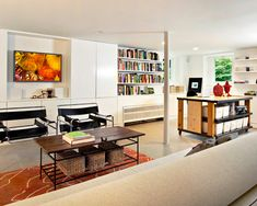 How to Finish Your Basement and Basement Remodeling Finishing your basement can almost double the square foot living space of your home. A finished basement can include new living space such as a r… Cozy Basement, Modern Basement, Basement Bedrooms, Basement Ideas, Basement Decorating, Basement Designs, Basement Bars, Basement Bathroom, Decorating Tips