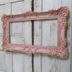 Pink Frame wall hanging large vintage shabby cottage chic ornate detail accented in gold home decor anita spero design