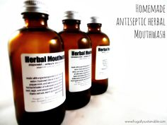 Homemade Herbal Mouthwash by Frugally Sustainable. Recipe includes beneficial healing herbs including Thyme and Myrrh extracts plus an infusion of Echinacea and Peppermint.