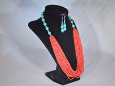 Check out this item in my Etsy shop https://www.etsy.com/listing/211415871/red-necklace-with-earrings-set-turquoise