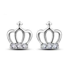 Sterling Silver Cute Crown CZ Stud Earrings