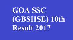 GOA SSC 10th Result 2017