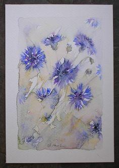 ART Watercolour painting CORNFLOWERS  original art by artist