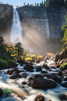 Morning light at Nevada Falls Yosemite National Park CA [OC][10001500] #reddit