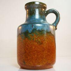 West German Pottery Vase • Scheurich • 414/16 • Fat Lava • Mid Century •
