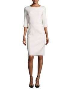 Carolina Herrera 3/4-Sleeve Round-Neck Sheath Dress, White