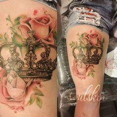 "210 Likes, 5 Comments - Sanni Voutilainen (@sanni_ink) on Instagram: ""#rosetattoo #tattoo #crown #crowntattoo #watercolor #watercolortattoo #turkutattoo #soulskintattoo"""