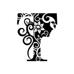 Flower Clipart - Black Alphabet T with White Background | Download Free Flower Clipart, Designs, Gallery, Web Arts, Graphics, Images and Vector