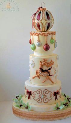 I Love Christmas - Cake by Cake Creations by ME - Mayra Estrada - CakesDecor (Cake Design Noel) Christmas Cake Decorations, Christmas Sweets, Holiday Cakes, Noel Christmas, Christmas Baking, Christmas Cakes, Xmas Cakes, Beautiful Cakes, Amazing Cakes