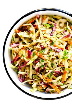 This Cilantro Lime Slaw recipe is easy to make in just 10 minutes, it tastes extra fresh and light, and it can be great as a side dish or topping for tacos, burgers, sandwiches and more. Taco Side Dishes, Healthy Side Dishes, Side Dishes Easy, Healthy Sides, Main Dishes, Slaw Recipes, Chicken Salad Recipes, Mexican Food Recipes, Slaw For Tacos