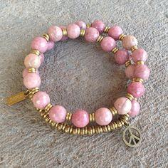 Selflove, Faceted Rhodochrosite27beadwrapmalabracelet – Lovepray jewelry #rhodochrosite #mala #bracelet