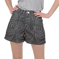 Abstract metallic spirals, silver color, dark grey, graphite colour Ripstop Shorts #pants #shorts #ripstop #cowcow #womens #fashion #look #style Spirals, Graphite, Silver Color, Dark Grey, Short Dresses, Metallic, Colour, Shorts, Abstract
