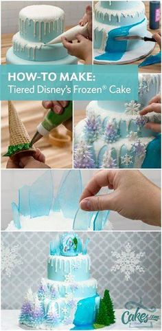 Frozen Party Ideas -How to make a three tier Frozen Party CakeYou can find Disney frozen cake and more on our website.Frozen Party Ideas -How to make a three tier Frozen Par. Frozen Party Cake, Disney Frozen Cake, Frozen Birthday Cake, Party Cakes, Frozen Frozen, Frozen Cookies, Frozen Birthday Cupcakes, Olaf Birthday Cake, Disney Cupcakes