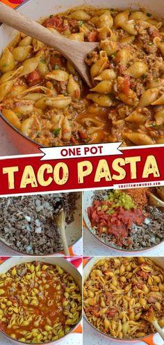 Taco Pasta Recipes, Entree Recipes, Casserole Recipes, Mexican Food Recipes, Dinner Recipes, Ethnic Recipes, Hamburger Recipes, Easy Recipes, One Pot Meals