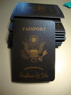 DIY Passport Invites by way of Zazzle. Love the paper.