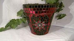 New Terracotta Handmade Mosaic Flower Pot/Planter by NKRNmosaics, $80.00