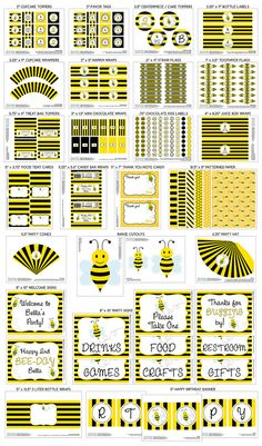 Printable DIY Black and Yellow Honey Bee / Bumble Bee / Busy Bee Theme LARGE Birthday Party Package on Etsy, $30.00