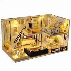 Personalized Topacc T-Yu Yoko Wei Meng DIY Dollhouse With Light Cover Miniature Model Gift Collection Decor Toys - NewChic Mobile Wooden Dollhouse Kits, Dollhouse Toys, Dollhouse Furniture, Dollhouse Miniatures, Dollhouse Interiors, Casa Loft, Kit Diy, Lumiere Led, House Gifts