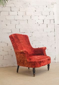 Fauteuil Scandinave Depalma Velours Rouge Chesterfield