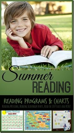 Summer Reading - Everything you need to have a fun summer reading with kids of all ages. Includes free sponsored reading programs, make your own reading programs, reading logs, plus REALLY FUN reading challenges like a reading scavenger hunt, read 100 books in 100 places, and so much more!! LOVE THIS!!
