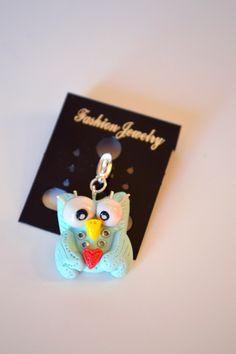 www.ivankaslittletreasures.com #Handmade #Polymerclay #Pendant #Jewelry #Owl #Blue