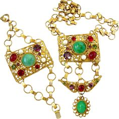 New Listing - Ornate Gold Tone Signed Robert Cabochon Parure includes pendant necklace, bracelet and bonus pin.