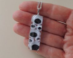 Wiggle Eyes Necklace, Black and White Resin Pendant, Resin Jewelry, Monochrome
