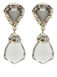 Bel Air shield drop post earring in gold from Alexis Bittar. These earrings feature gold-plated setting with small Swarovski crystals. Has diamond-shaped faceted lucite center and faceted lucite drop with a post back butterfly fastening. Measures 1.5
