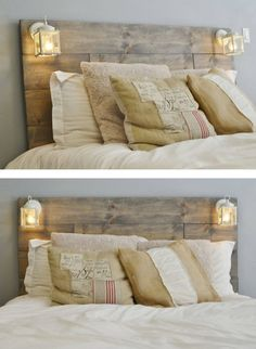 Rustic DIY bed: Build your own headboard from pallets- Rustikales DIY Bett: Kopfteil selbst bauen aus Paletten DIY bed: build your own headboard from pallets - Wood Pallet Beds, Pallet Furniture, Wood Pallets, Rustic Wood Bed Frame, Industrial Furniture, Home Bedroom, Bedroom Decor, Bedroom Ideas, Bedding Decor