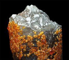 Spessartine on smoky quartz