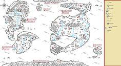 Mapa Servaragon Cała (Podpisane kontynenty bez granic państw)