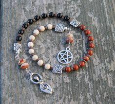 Pentacle Triple Goddess Pagan Prayer Beads by inkleing on Etsy, $24.50
