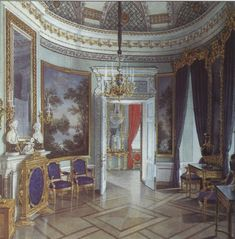 The Oval room is the anteroom to the Chesma Gallery in the Gatchina Palace and is oval in plan. The room was designed by Vincenzo Brenna. Its walls were made of wood and therefore perished in the fire of 1944, along with wall painting by Giovanni Scotty and other elements of the interior décor.