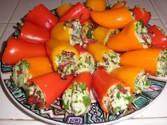 """Stuffed Mini Peppers 3oz, or 6 slices bacon (turkey bacon or regular) chopped 3/4 cup part skim ricotta cheese 1/3 cup grated parmesan 1/2 cup chopped spinach 24ct  2-3"""" long sweet baby peppers  Preheat oven to 350. Spray baking sheet with cooking spray, set aside."""