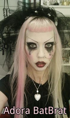 Gloomy Monday Goth. Adora Batbrat, Gothic Beauty, White Hair, Halloween Face Makeup, Lipstick, Kawaii, Style Inspiration, Hair Styles, Model