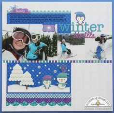 winter thrills, A Doodlebug Frosty Friends Snow Layout by Mendi Yoshikawa - Scrapbook.com - Create a cute winter scene with Doodlebug stickers.