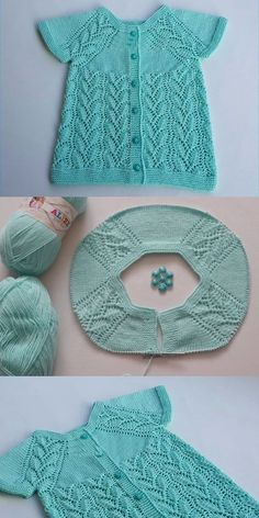 Openwork Leaf Model Stricken Baby Weste und Rob Konstruktion - Knitting and crochetting Baby Cardigan, Baby Pullover, How To Start Knitting, Knitting For Kids, Baby Knitting, Knitted Baby, Easy Knitting Patterns, Knitting Designs, Baby Patterns