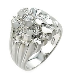Polished 925 Sterling Silver Nugget Ring for Men Size 7 * Want to know more, click on the image.