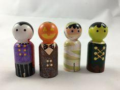 Halloween Monster Vampire Mummy Peg Dolls, Peg People, Wooden Peg Dolls, Peg…