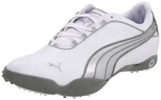 PUMA Women's Sunny 2 WNS Golf Shoe, White/Puma Silver/Gray women womens women's woman womans woman's footwear foot wear fashion style dress work working casual career bootie booties boot boots clog clogs flat flats flip flop flip flops heel heels loafer loafers mule mules platform platforms pump pumps sandal sandals sneaker sneakers wedge wedges runner runners running shoes shoe