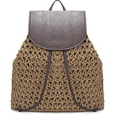 Yoins Coffee Straw-Woven Lined Beach Backpack with Flap Top and... (£23) ❤ liked on Polyvore featuring bags, backpacks, coffee, straw bags, evening bags, drawstring flap backpack, woven beach bag and beach bag