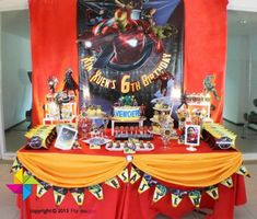 Backdrop and dessert / candy table for an Ironman / Avengers themed birthday party. Design and setup by ParteeBoo - The Party Designers Manly Party Decorations, Kids Party Themes, Birthday Party Decorations, Party Ideas, Avenger Party, Ninja Birthday Parties, Birthday Party Tables, Birthday Ideas, 9th Birthday