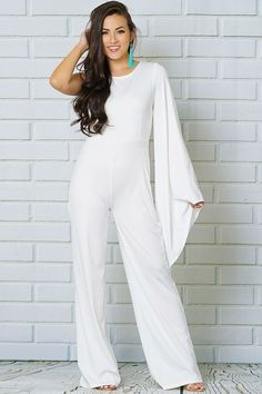 83ce4e0f8e4 Karina White One Shoulder Bell Sleeve Jumpsuit All White Party