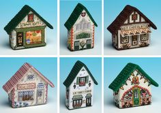 Lovely 3D cross stitch fridge magnets from The Nutmeg Factory, based on nostalgic village shops.