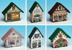 Lovely 3D cross stitch fridge magnets from The Nutmeg Factory, based on nostalgic village shops.