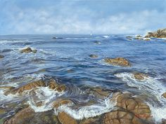 #Waves of #Monterey- Oil on canvas #painting of Monterey beach, 30 x 40 in.