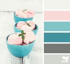 Gray, teal/turquoise/aqua blue, pale pink/peach/coral. Color palette. Fresh, clean, pretty.
